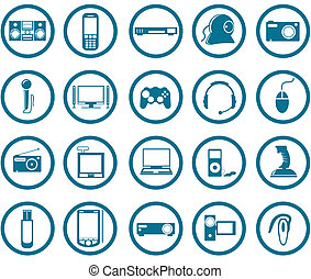 Multimedia icon set - Electronic Multimedia stuff icon set