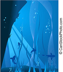 Deep blue sea: underwater background