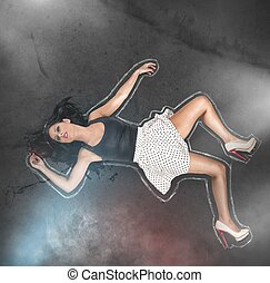 Investigation of crime scene chalk outline - Investigation...