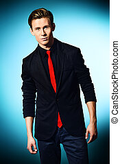 fashion male - Fashion shot of a handsome young man in...