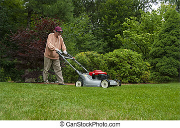Mowing lawn - middle aged man mowing lawn in suburban...