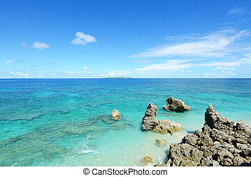 The cobalt blue sea and blue sky of - Tropical islands on...