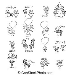 hand drawing cartoon happy family