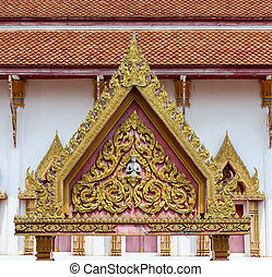 thai temple gate - detail of thai art on gate temple