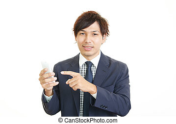 Happy man holding smart phone
