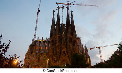Sagrada Familia in evening Barcelo - BARCELONA, SPAIN -...