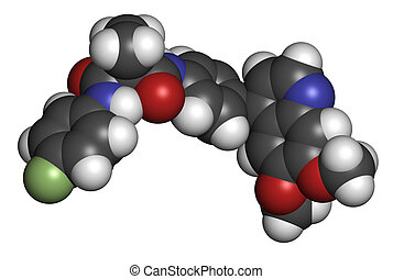Cabozantinib cancer drug molecule. Inhibitor of c-Met and...