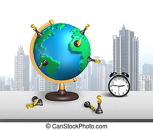 dollar chess stand on 3d map globe with clock and city...