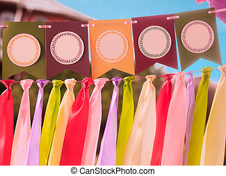 Colorful party swag banner with empty space for text -...