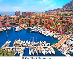 View over Monaco harbour, Cote d'Azur - View over Monaco...