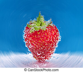 Strawberry in soda water