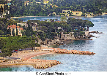 view of luxury Villefranche resort and bay Cote dAzur -...