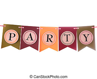 Colorful party swag banner isolated on white - Colourful...