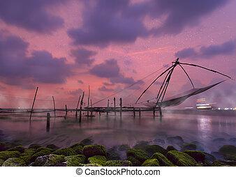 Chinese fishing nets at Kochi, Kerala, India - Chinese...