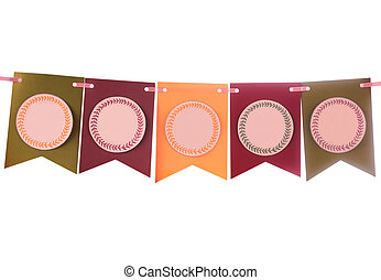 Colorful party swag banner isolated on white with empty...