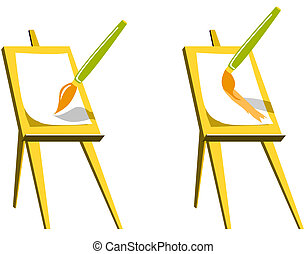 Easel with paintbrush