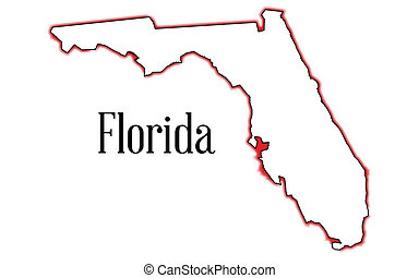 Florida - Outline of the map of Florida isolated on white