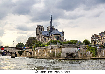 Paris - Notre Dame cathedral and River Seine in Paris,...