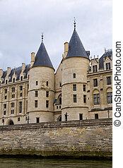 Paris - View from the Seine of the Conciergerie Paris,...