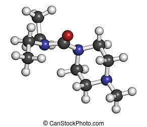 Diethylcarbamazine anthelmintic drug molecule. Atoms are...