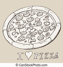 Hand drawing pizza - Vector hand draw doodle sketch pizza...