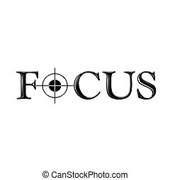 Focus text with stylized letter O