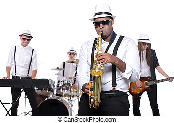 Music Band - Band of musicians with instruments isolated on...