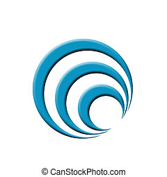 Logo with concentric blue circles