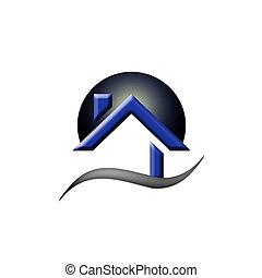 verdadero, propiedad, casa, logotipo