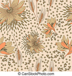 Seamless pattern with flowers lily