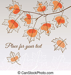 Linden leaf orange style with place for your text - Abstract...