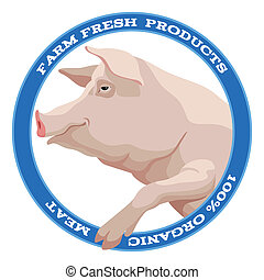 Pig label, blue