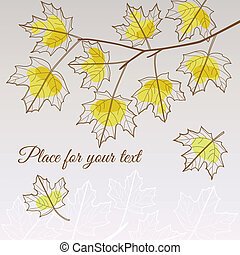Linden leaf yellow style with place for your text