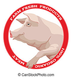 Pig label, red