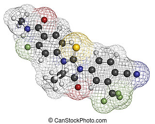 Enzalutamide prostate cancer drug molecule Atoms are...