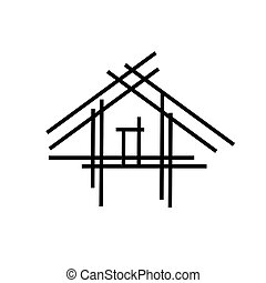 House with sticks- a house under construction- abstract logo...