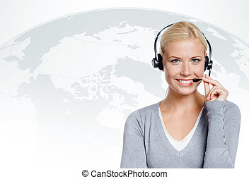 Manager of call center. concept of technology in today's...