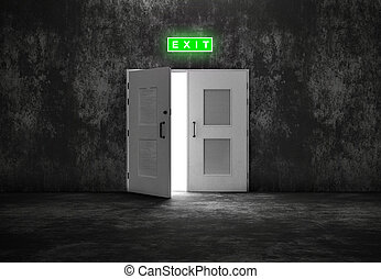 Open white door exit on grey background like cement or...