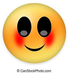 Shy emoticon with blush on cheeks