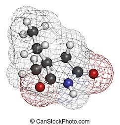 Ethosuximide anticonvulsant drug molecule. Used in treatment...