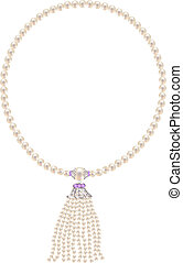 Pearl necklace with a pendant of pearl strands