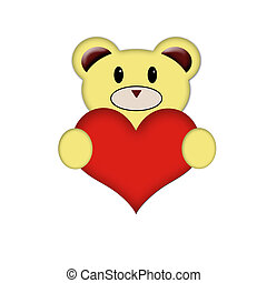Teddy holding a red heart