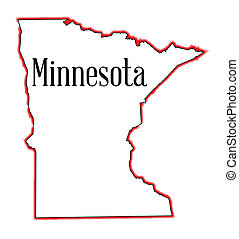 Minnesota - An outline map of Minnesota isolated on a white...