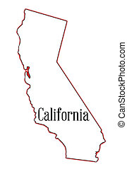 California - State map outline of California over a white...