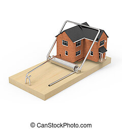 3d House caught in mousetrap - 3d render of a house caught...