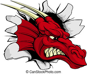 Red dragon breakthrough illustration of a red dragon...
