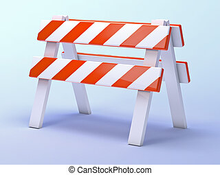 3d Roadworks barrier - 3d render of a roadworks construction...