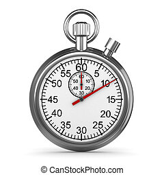 3d Silver stopwatch - 3d render of a silver stopwatch