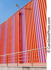 Large orange building - ?ndustrial building colored with...