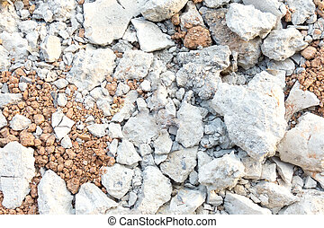Red soil and white rock Texture Background,construction site